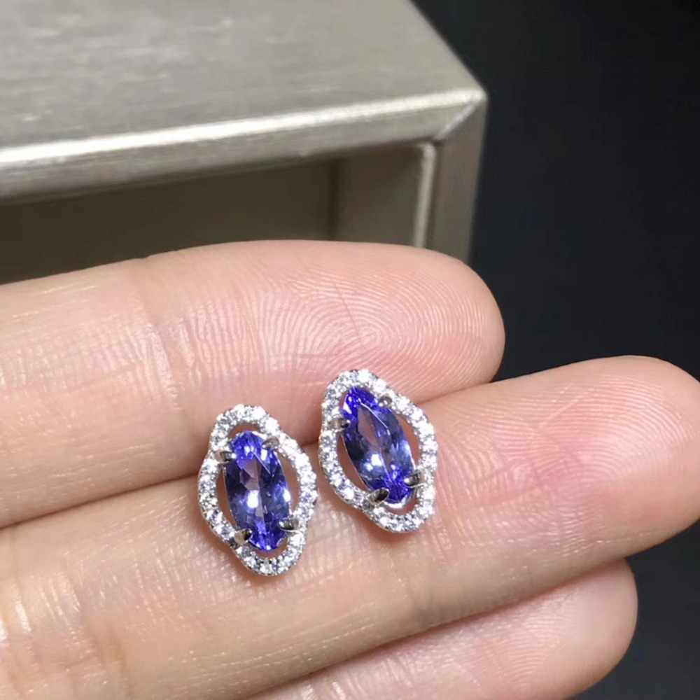 все цены на natural blue tanzanite gem earrings 925 silver Natural gemstone earring women fashion elegant Bulge geometry Earrings jewelry