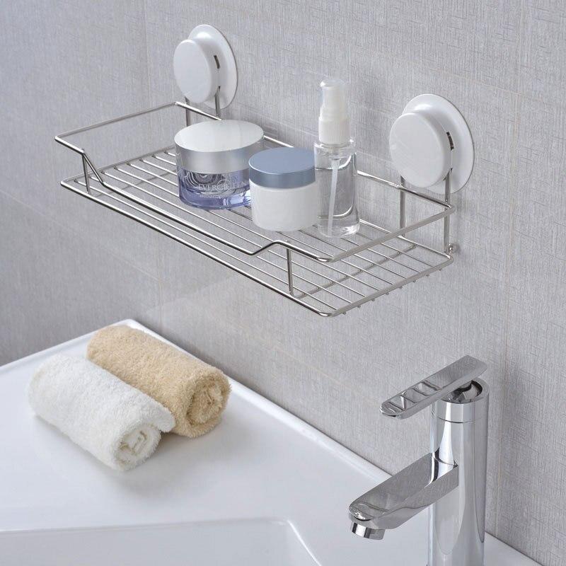 Bathroom Shelf Shower Shampoo Soap Cosmetic Shelves Bathroom Kitchen Storage Organizer Stainless Steel Caddy Rack Suction Holder