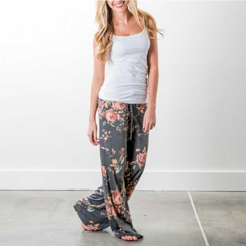 Весна осень женские длинные брюки свободное с цветочным принтом шнурок кружева камуфляж полоса волна точка пот брюки женские плюс размер брюки