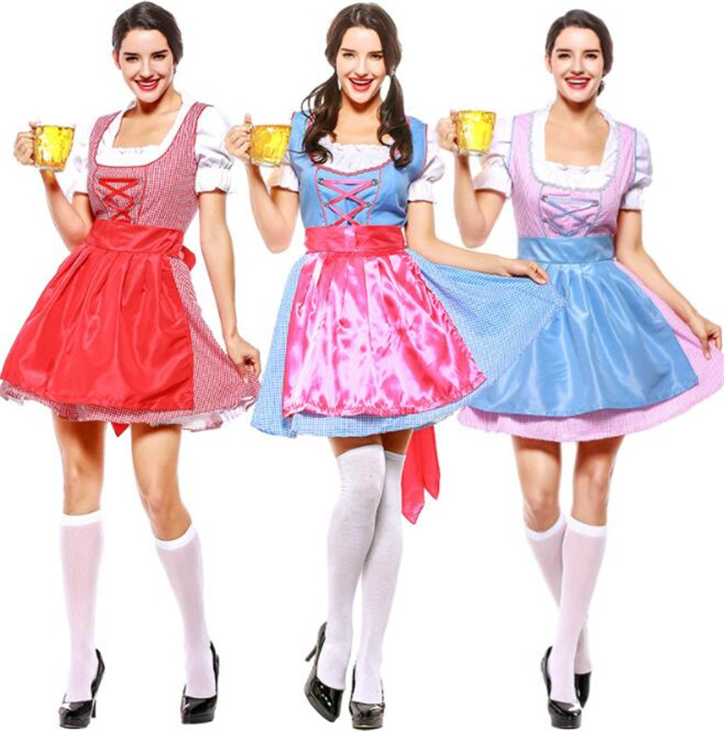 3 design Germany Bavaria Oktoberfest beer festival work clothes Costume Halloween Carnival Party Cosplay Fancy short dress A036
