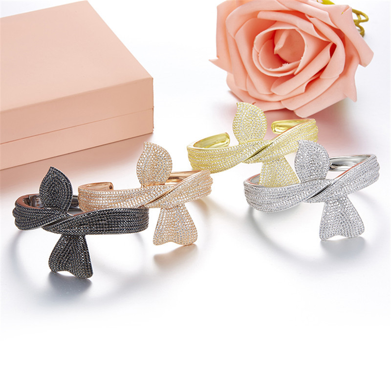ZOZIRI brand new design big bowknot Bracelets Bangles for elegant women 925 sterling silver zircon bow bracelet luxury jewelry pair of elegant faux gem zircon oval floral bracelet for women