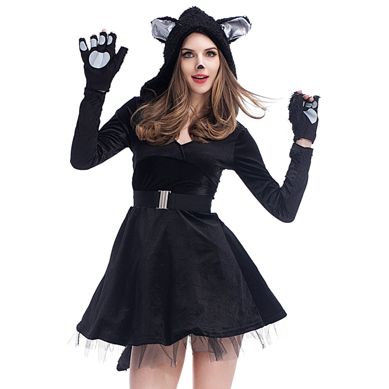 2017 New Adult Costume Sexy Cat Women Dress Night Prowler Sexy Catwoman Catsuit Black Cat Hooded Halloween Costume Cat ears Tail