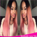 Middle Part Silky Straight Ombre Pink Synthetic Lace Front Wig Glueless Two Tone Natural Black To Pink Heat Resistant For Women