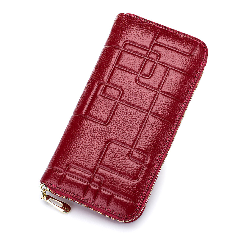 Woman Genuine Leather Long Women Wallet with Interior Moblie Female Large Purse Perse Carteira Card Holder Money Bag Ladies Coin wallet female long women wallet slim purse coin card holder leather ladies carteira large wallet mobile phone clutch money bag