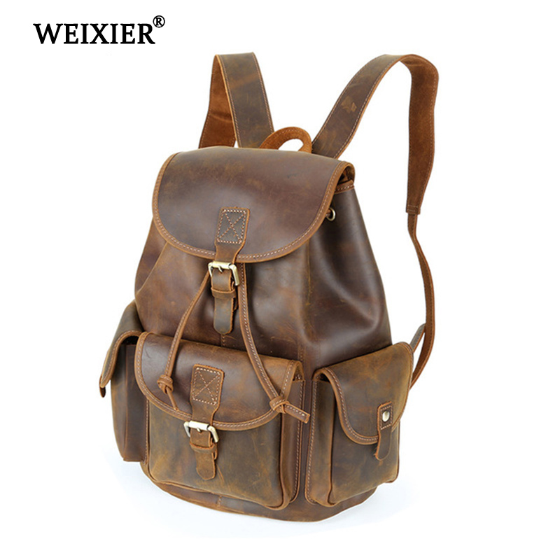 WEIXIER 2019 hommes en cuir véritable rétro grande capacité haute qualité sac à dos multi-fonction multi-poche solide couleur sac à dos