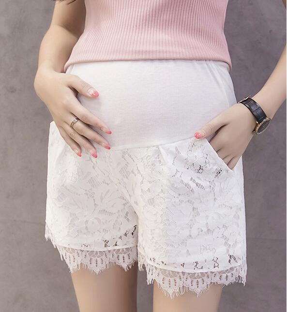 Лидер продаж, летние шорты для беременных женщин, хлопковые Лоскутные кружевные шорты с высокой талией, шорты для беременных, милые короткие штаны - Цвет: 942white