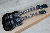Free shipping Hot Sale New Arrival 6 + 12 Strings Double Neck G Custom Guitar SG 1275 black Electric Guitar