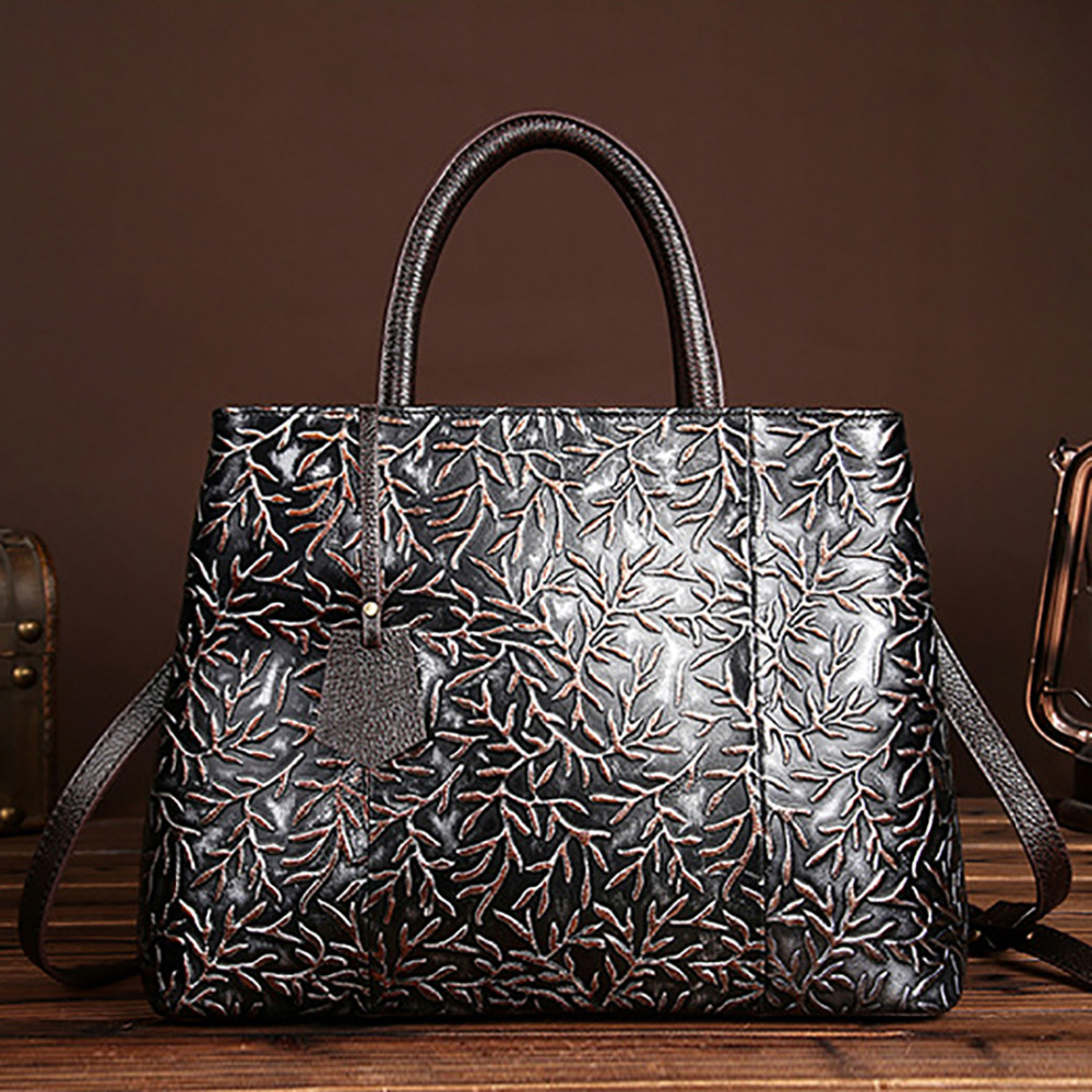 Hot Sale Genuine Embossed Leather Women Tote Handbag Famous Brand Crossbody Messenger Bags Vintage Casual Shoulder Shopping Bag starry pattern gold plated alloy rhinestone stud earrings for women pink pair