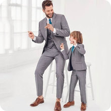 Gray Men Suit For Wedding Peaked Lapel Bridegroom Man Blazer Tuxedos Slim Fit Formal Terno Masculino Costume Homme Grooms Wear