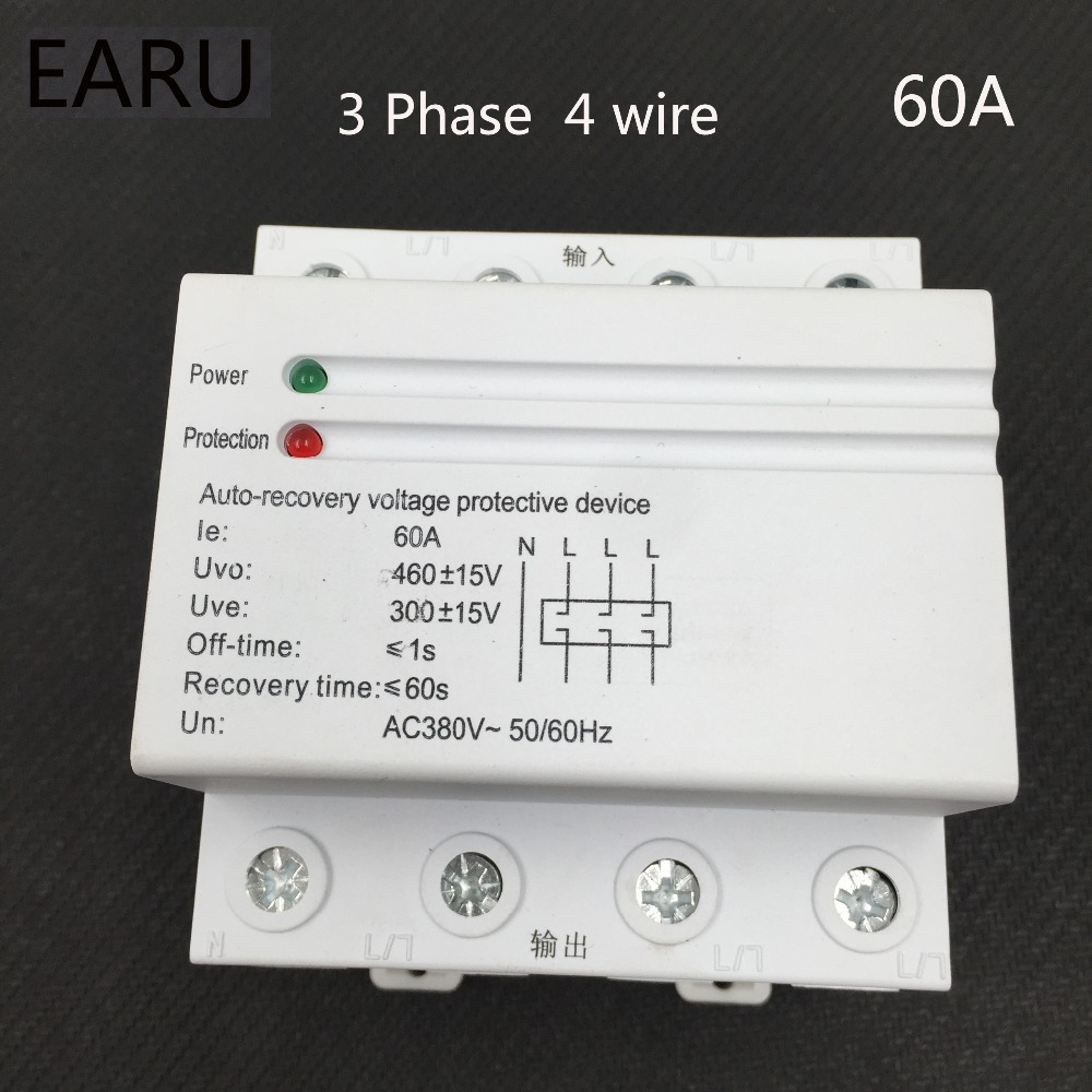 1pc 60A 380V 3P+N Din Rail Self Recovery Restore Automatic Reconnect Over & Under Voltage Lightening Protection Protective Relay 1pc 63a 230v self recovery automatic reconnect over