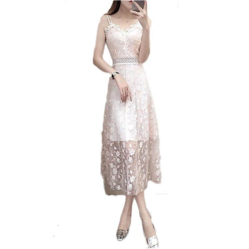 2019 nouveau printemps été Sexy robe à bretelles élégante robe de soirée femme crochet fleur creux dentelle robe femmes en mousseline de soie robes longues M04