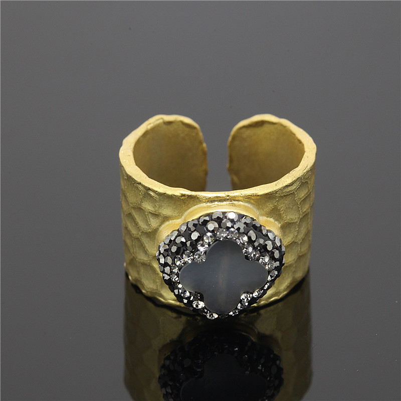 1PCBeautiful Grey Flower Stone Rhinestone Beads Quartz Ring,Opening Cuff Ring Women Wide Metal In24K Gold Pated,Partys Jewelry