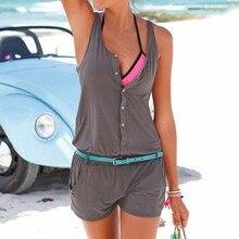 Цельнокроеное платье короткие штаны костюм пикантные летние пляжные Комбинезоны для малышек Для женщин комбинезон Шорты для женщин рукавов Новые