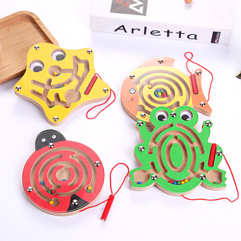 Puzzles Intellectual Toys Magic Cubes Wooden Children Puzzle Wooden Magnetic Maze Kids Early Educational Toys Jigsaw Board puzzles alatoys lb1032 play children educational busy board toys for boys girls lace maze