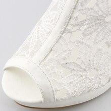 Plus Size 35-42 Fashion Peep Toe Sandals Sexy Women Platform Pumps Lace Mesh Thick High Heels Shoes Ankle boot Summer Sandalet