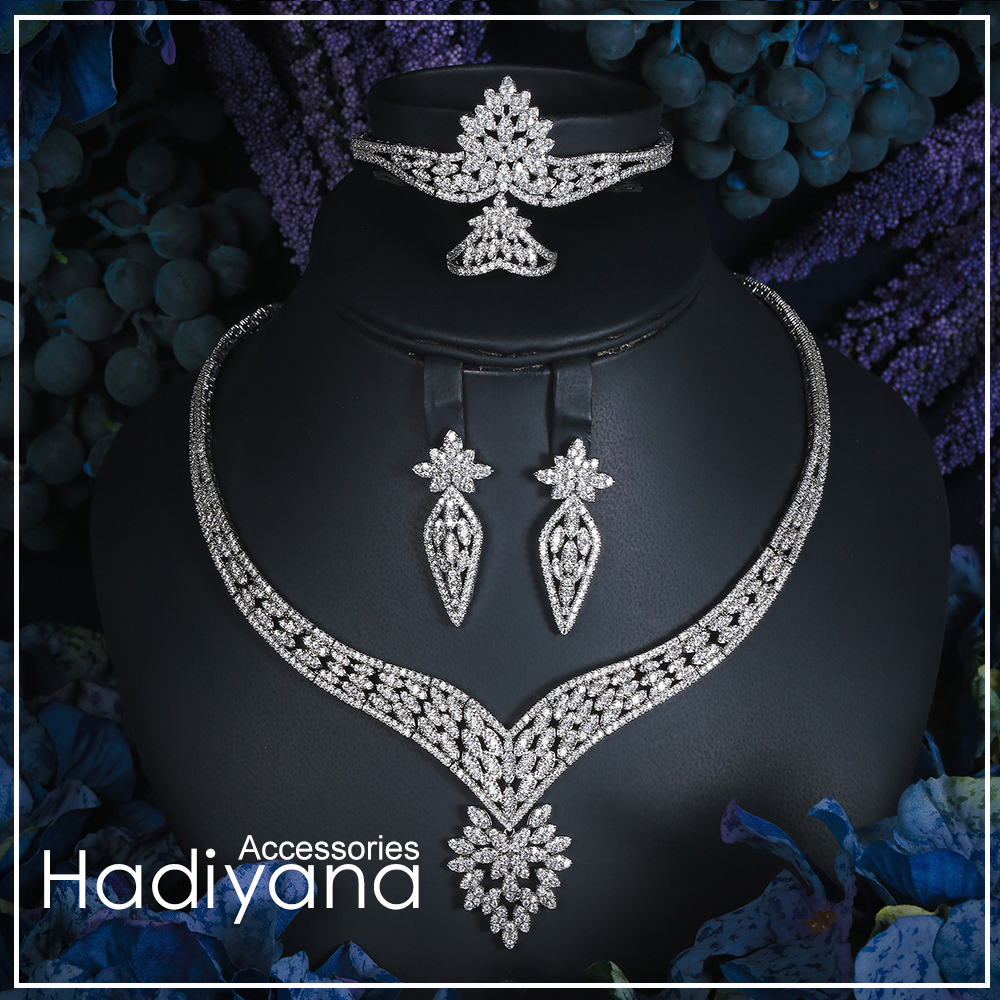Hadiyana 2018 Sparking Cubic Zircon Indian Jewelry Set wedding Design Fashion 4pcs Necklace Jewelry Bridal Sets