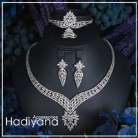 Hadiyana 2018 Sparking Cubic Zircon Indian Jewelry Set wedding Design Fashion 4pcs Necklace Jewelry Bridal Sets For Women CN278