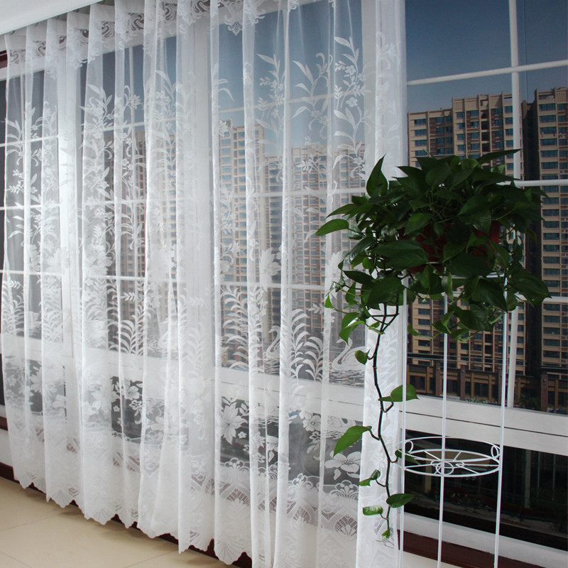 New arrival european style white swan embroidered - European style curtains for living room ...