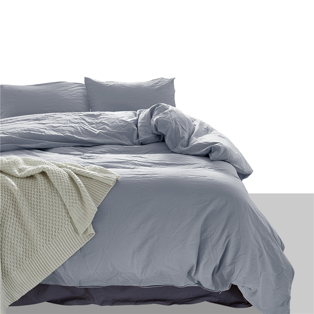 European Style Simple Light Gray Solid Color 3pcs Pillowcase Duvet Cover Set Bedding Sets USA King Queen Size Bedlinen Cotton European Style Simple Light Gray Solid Color 3pcs Pillowcase Duvet Cover Set Bedding Sets USA King Queen Size Bedlinen Cotton
