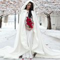2017 Winter Wedding Coat Princess Bridal Cape Ivory Satin with Fur Trim Wedding Cloak Handmade Bride Cape Vintage Accessories