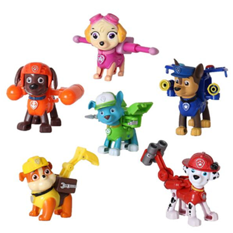 ФОТО 6pcs/set new canine patrol dog toys russian anime doll action figures car patrol puppy toy patrulla canina juguetes gift boys