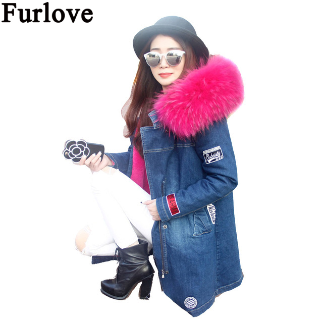 Furlove Winter Coat Women Long Fur Jacket Raccoon fur  Faux Fur Lined Denim Jeans Parka Winter Fur Lines Female Hooded Overcoat купить