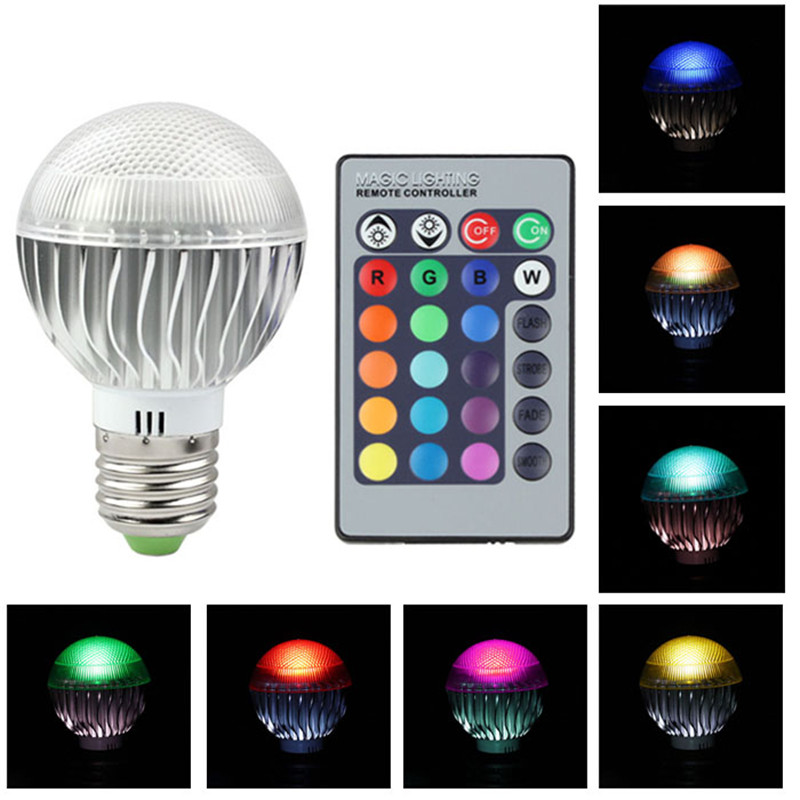 E27 9W 85-265V RGB LED 16 Colors Changing Light Lamp Bulb With Wireless Remote Control