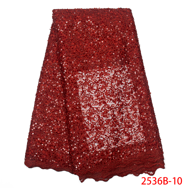 High Quality African Lace Fabric Hot Sale Tulle Net Lace Fabrics Embroidered Nigerian French Lace For Women KS2536B-10