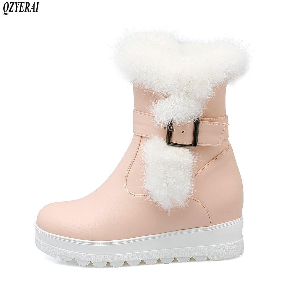 170ef73be6738 Femelle Confortable Neige 25018 D hiver blanc Bottes Chaud Cheveux Femmes  Chaussures Qzyerai Fille De Lapin ...