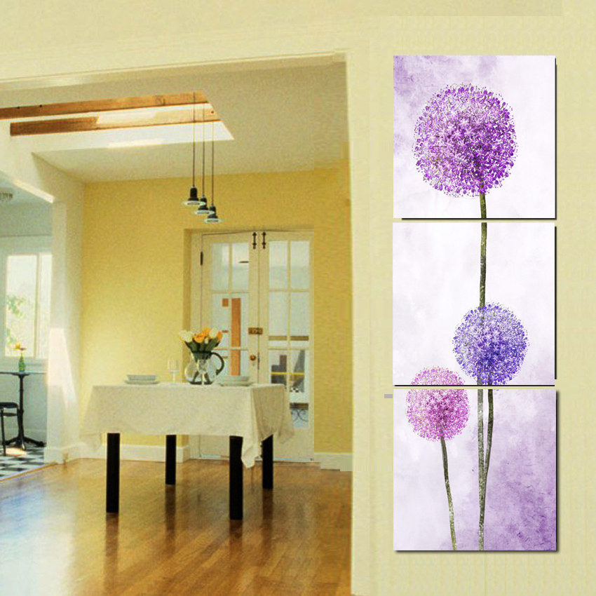 3 Piece Plant Pictures Set Purple Flowers Wall Art Painting On ...