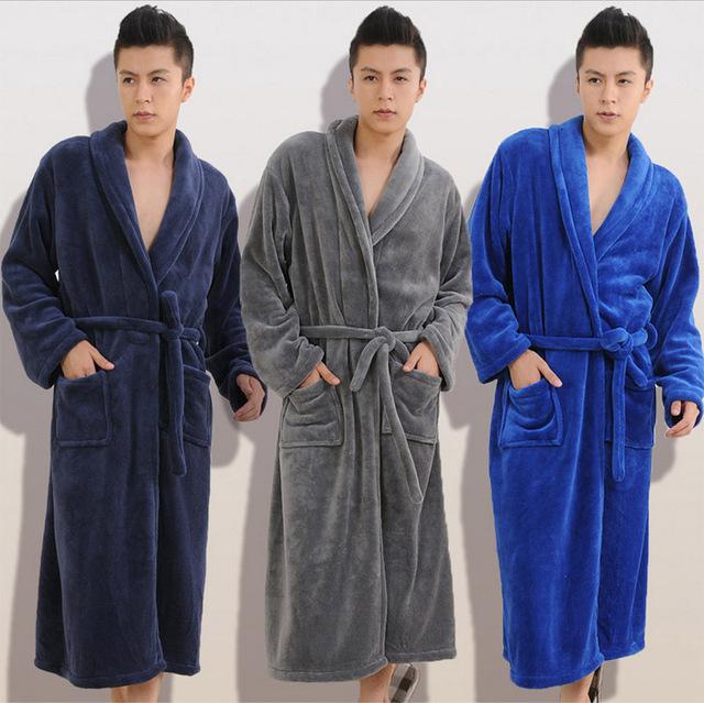 Otoño invierno gruesa franela Batas de Baño de las mujeres de los hombres pijamas pijamas homewear ropa de noche masculina de salones de caballeros