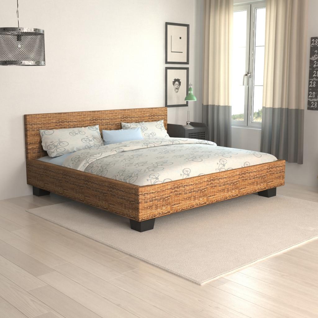 Queen size cama de mimbre tejidas a mano 180x200 cm cama para el ...