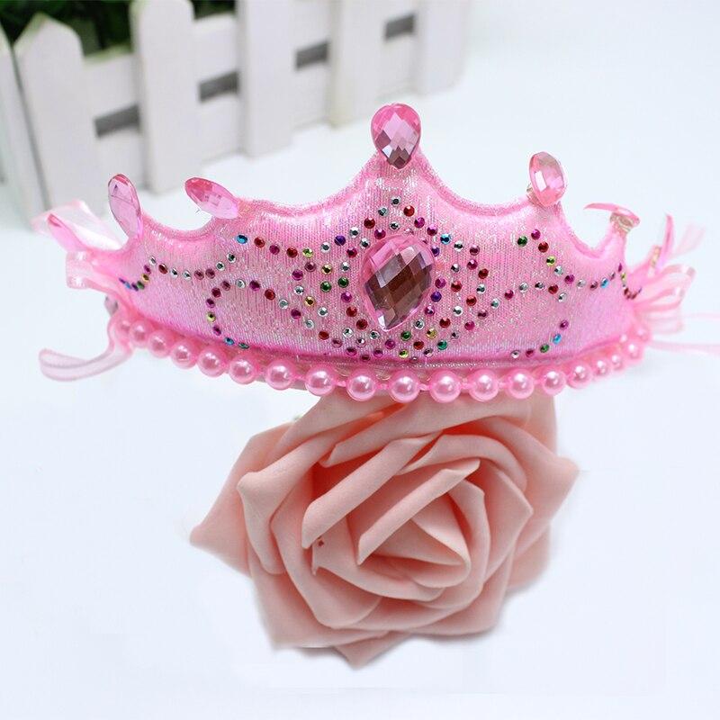 HOT Pink Faux Pearl Rhinestone Sponge Crown Narrow Hair Hoop Headband for Girl