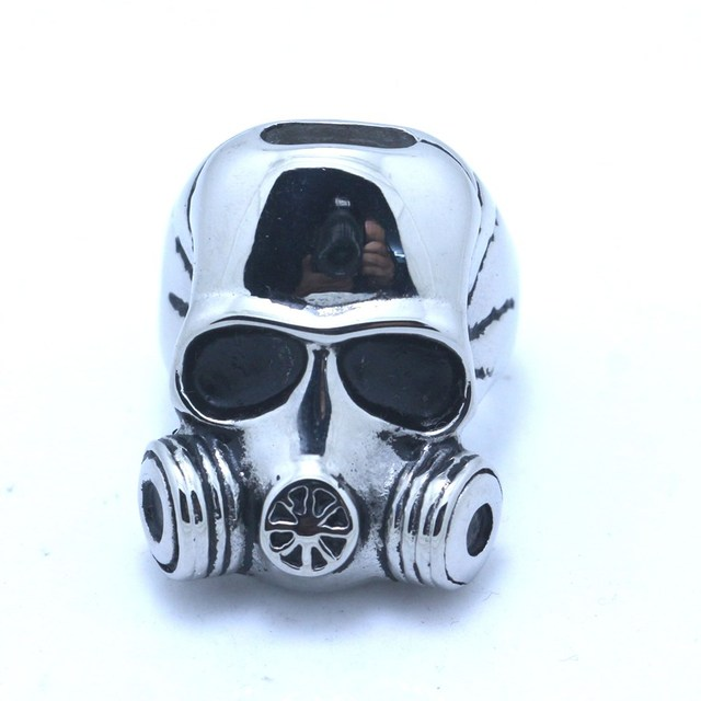 Mens 316l stainless steel cool gas mask skull ring in rings from mens 316l stainless steel cool gas mask skull ring voltagebd Images