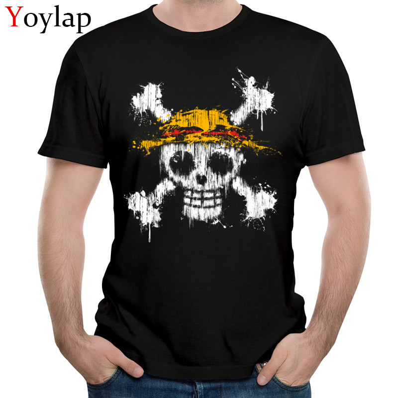 2017 Fashion Casual Skull T-Shirt Short Sleeve Tops & Tees Summer Autumn Crew Neck Cotton Fabric Male Black Tee Shirt One Piece