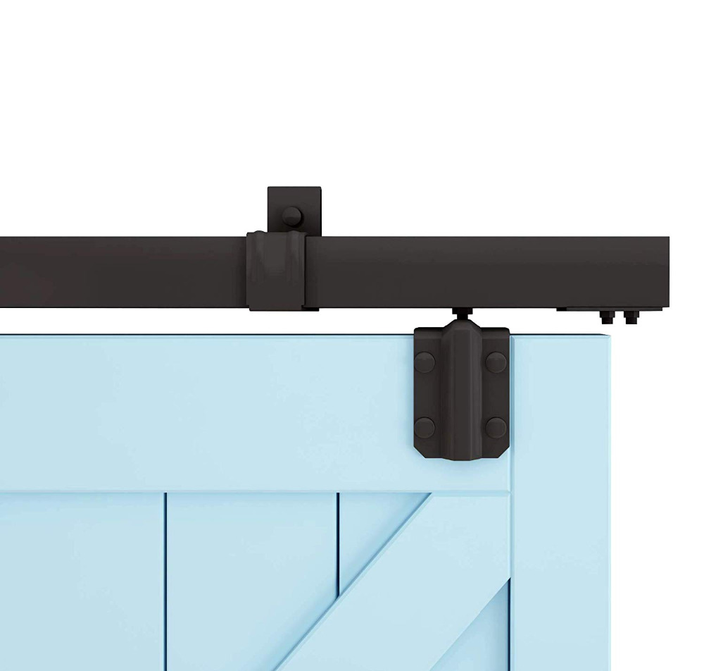 DIYHD M0083 Box Rail Hardware Heavy Duty Steel Sliding Barn Door Track Hardware, Smooth Black