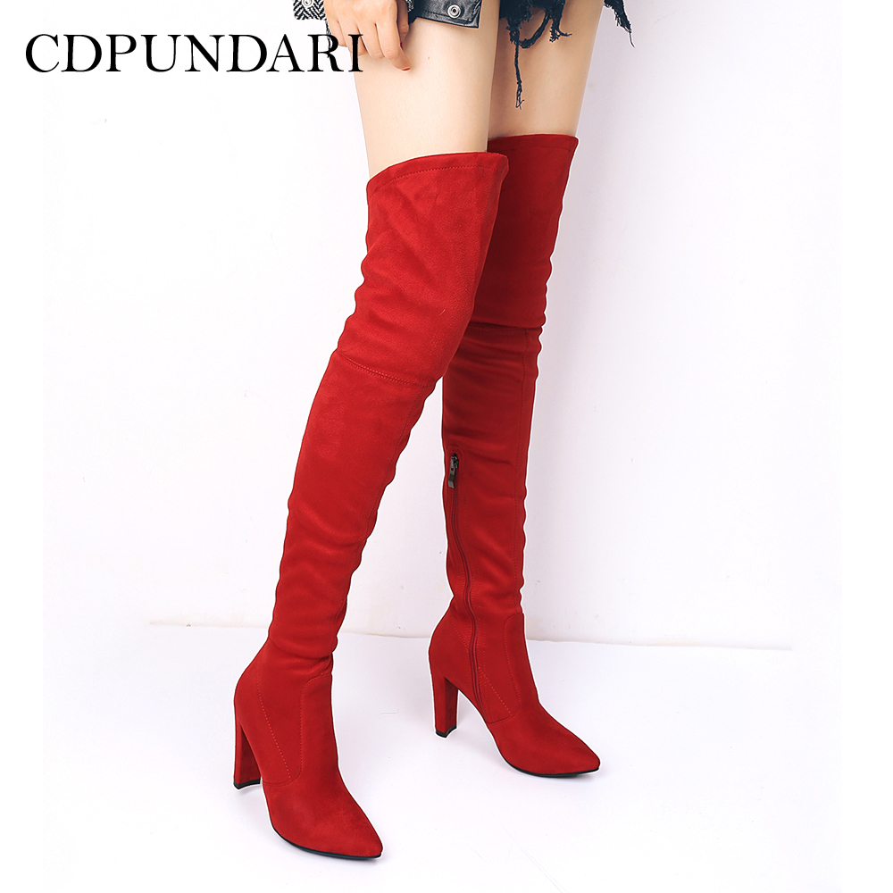 CDPUNDARI Stretch Fabric over the knee boots women thigh high boots Winter shoes woman botas mujer bottine femme women shoes scarpe donna elastic boots botines mujer sapato feminino round toe chaussure femme schoenen vrouw over knee boots