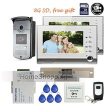 FREE SHIPPING New 7″ TFT Color Screen Recorder Video Door phone Intercom 2 Monitors Waterproof RFID Camera + 8G + Strike E-Lock