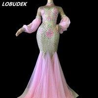 Супер Спарки Стразы Розовый платье со шлейфом для ночного клуба DJ женский костюм певицы бар вечерние праздничное платье Подиум этап носит