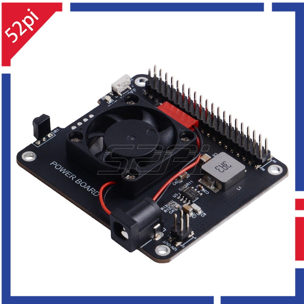 52Pi DockerPi Power Board For Raspberry Pi 4B & 3B+ & All Platform Power With Safe Shutdown Auto Cooling Fan Expansion Board