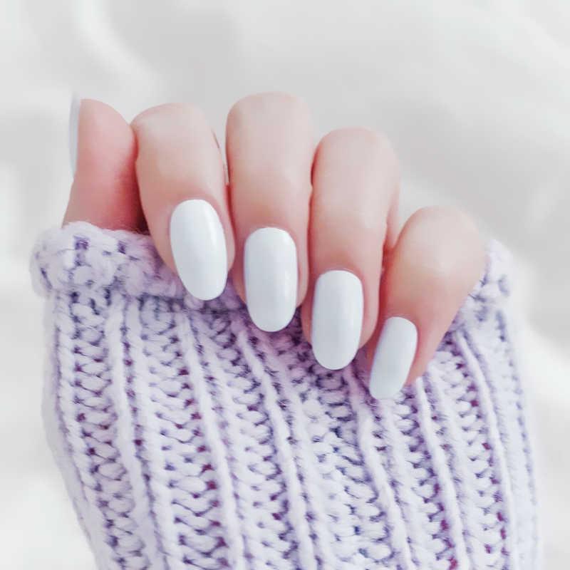 24 قطعة قصيرة البيضاوي لامعة الأظافر وهمية نقية بيضاء واضحة الصحافة على الأظافر الطبيعية الاصطناعية بريق مسمار نصائح لتطويل الأظافر
