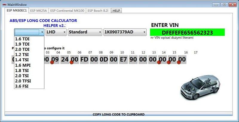 for VW ABS ESP Long Code Calculator Helper MK60EC1