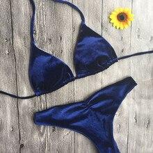 b03def31c Swimwear 2019 Biquínis Das Mulheres de Veludo Azul Biquíni Swimwear Barato  Empurrar Para cima Praia Brasileira Swimsuit Acolchoa.
