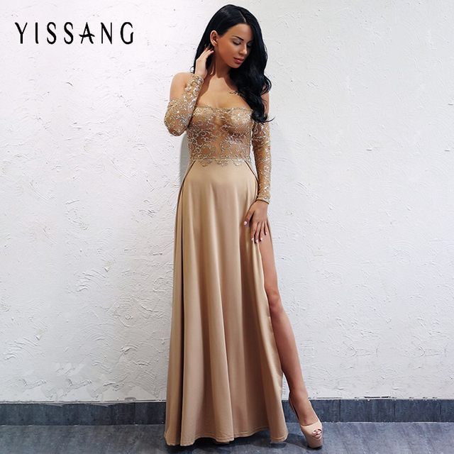 Yissang Elegant Sexy Maxi Long Dress Women Shining Club Party Dresses High  Split Off Shoulder Sequin a785eddf0332