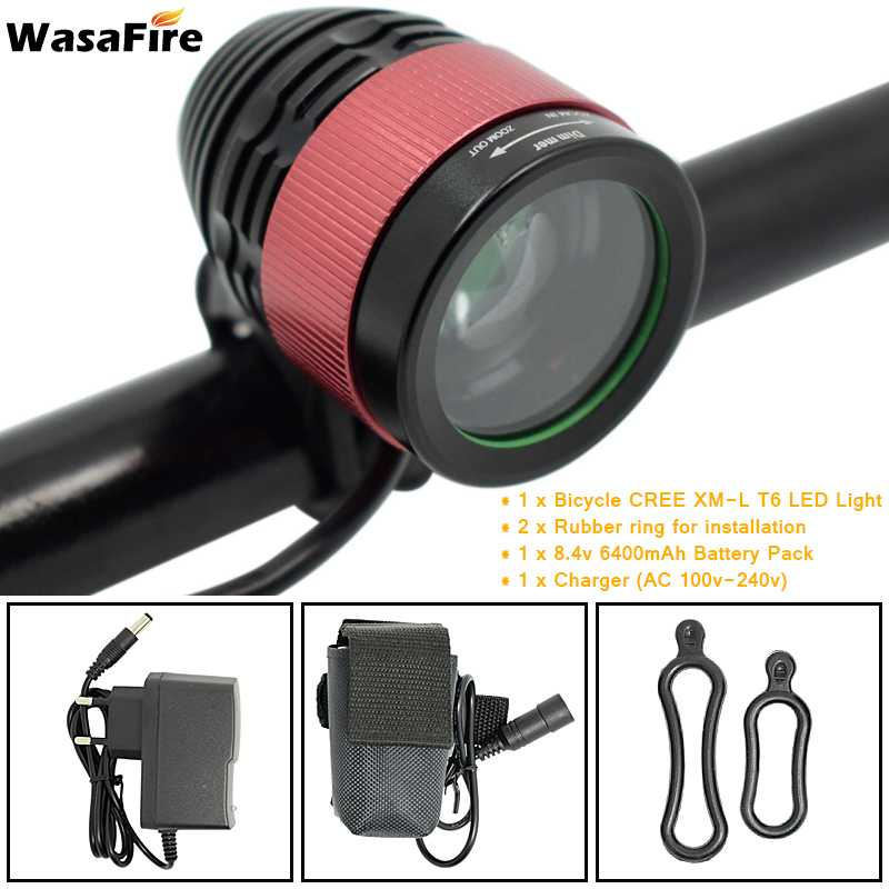 WasaFire 2000lm XM-L T6 LED Focusing Cycling Bicycle Light Head Light Bike Light Lamp Front 8.4V 18650 Rechargeable Battery Pack wasafire focusing wide beam 1800lm xm l u2 3 modes zoomable led bicycle light 4 18650 battery charger bike light front head lamp