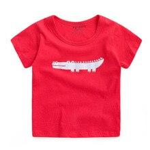 2016 Children Cartoon Monster T shirt Animal Clothes T-Shirt For Girls Boys Cotton Short Sleeve Kids Lacoste Red Tee Shirt