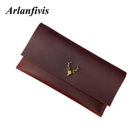 a Handmade Genuine Leather Crazy horse leather women clutch Bags Wallets Purse Large Capacity Phone Bag deer Original
