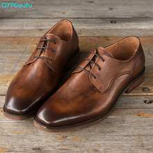 New 2019 Mens Genuine Leather Shoes Vintage Men's Dress Shoes Business Wedding Shoes Oxfords Lace Up Square Toe Flats new pjcmg spring autumn cool serpentine black wine red mens flats dress genuine leather oxfords business mens wedding shoes