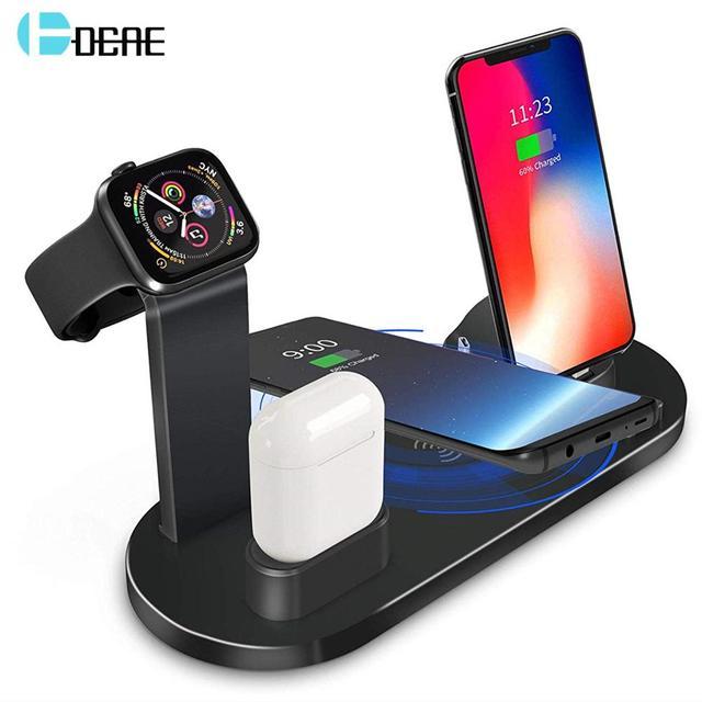 10W Sạc Không Dây Qi Cho Đồng Hồ Apple Airpods Pro Type C USB 3 Trong 1 Nhanh Đế Sạc cho iPhone 11 XS 8 Samsung S20
