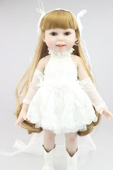 AMERICAN PRINCESS 45CM  girl doll Blond long hair wedding dress doll reborn  best lover gift birthday gift for girls toys